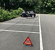 Der Schulsanitätsdienst bei den Übungen für den Umgang mit einem Verkehrsunfall